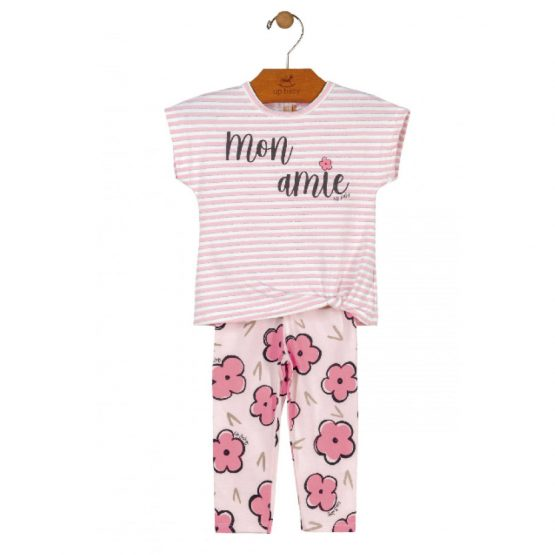 Conjunto blusa e legging – Flores rosas
