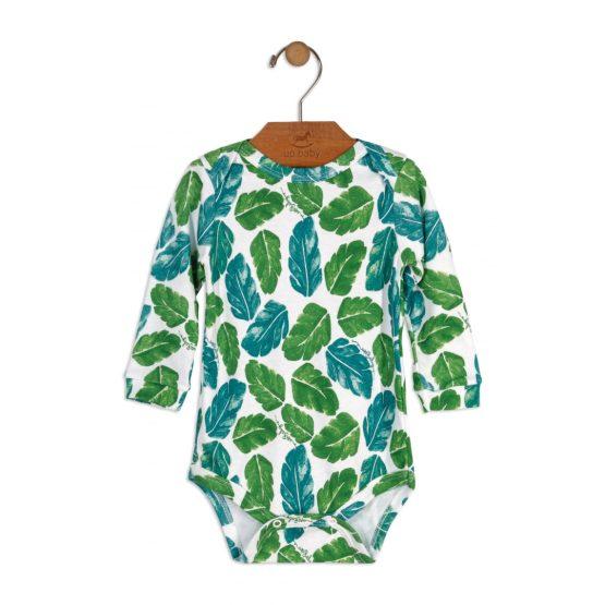 Body manga longa em suedine – Folhas