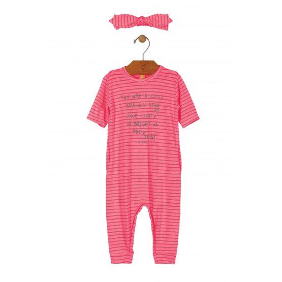 Macacão manga curta com faixa de cabelo listrado rosa