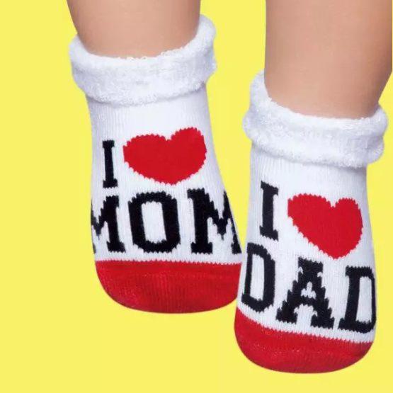 Meia soquete I love Mom, I love Dad