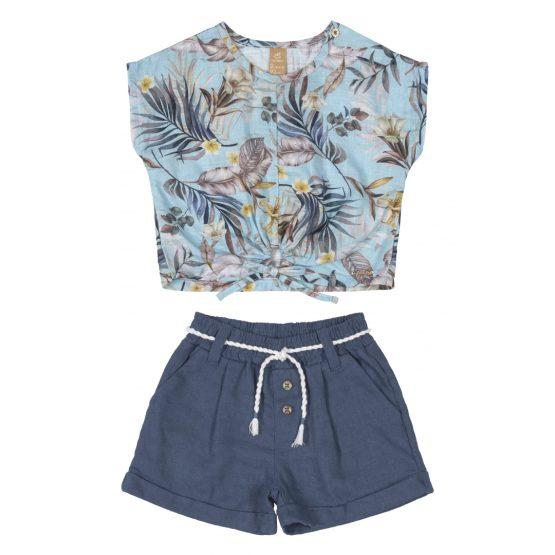 Conjunto blusa e short – Folhas
