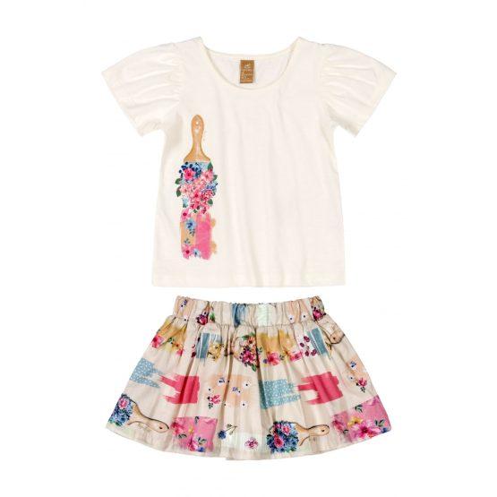 Conjunto blusa em meia malha e saia/short em tecido – Pintura