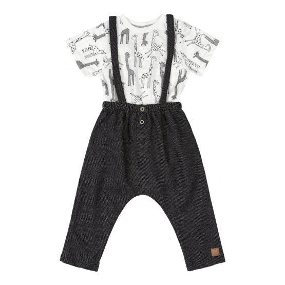 Conjunto body e calça com suspensório – Girafa