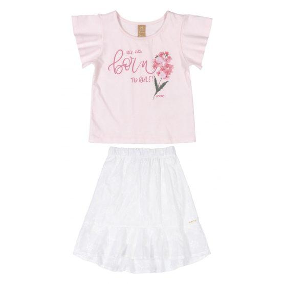 Conjunto blusa e saia midi – Floral