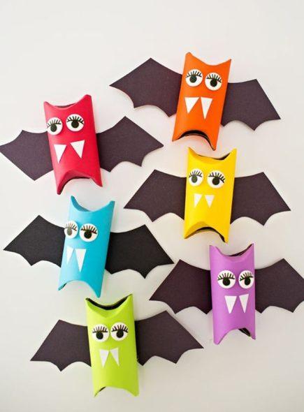 morcegos de papel - Festa de Halloween infantil