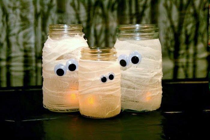 Luminárias de múmia - Festa de Halloween infantil