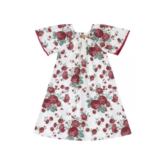 Vestido manga curta – Flores Vermelhas