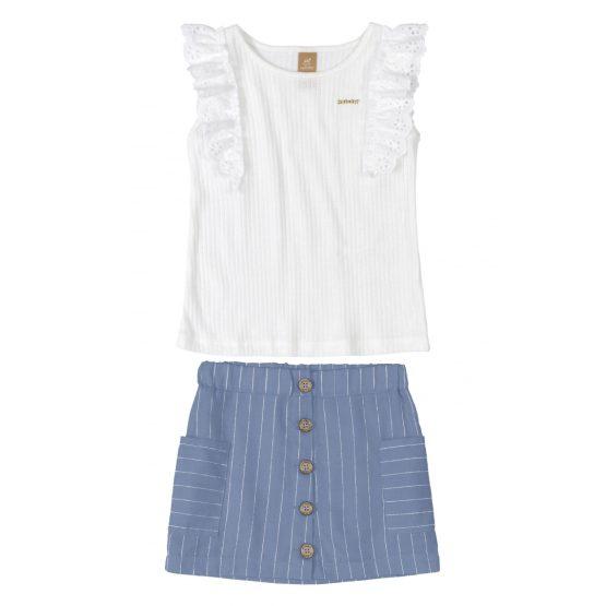 Conjunto blusa e saia – Listrado