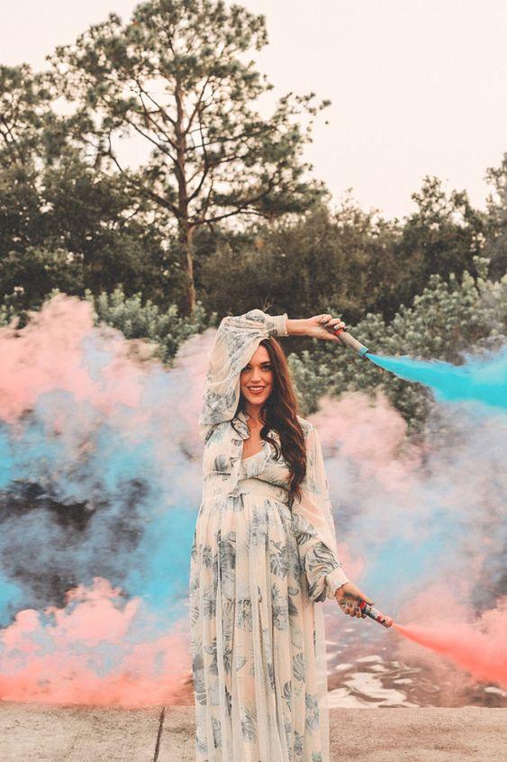 fumaça com cor azul ou rosa