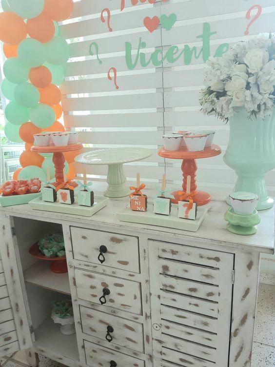 decoração verde e laranja