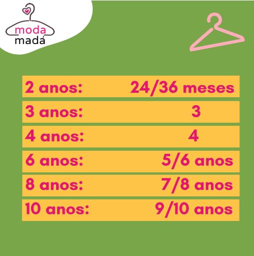 tamanhos de roupas infantis 2 a 10 anos