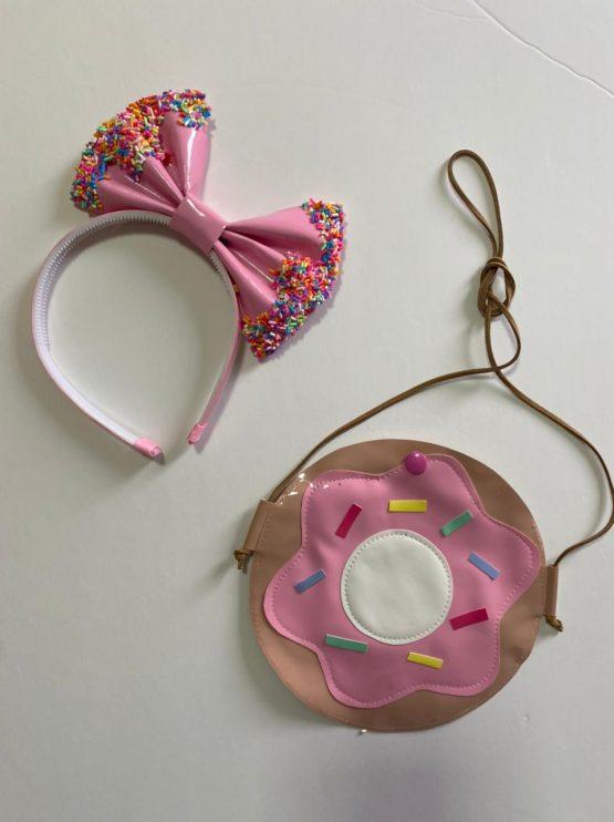 Kit bolsinha + tiara Donuts