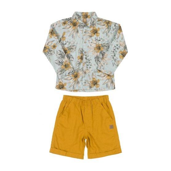Conjunto camisa e bermuda linho – Floral